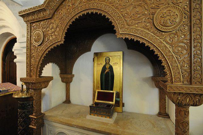 Мощи преподобной Марии Египетской в Сретенском монастыре